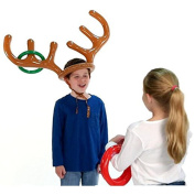 Pawaca Inflatable Reindeer Antler Ring Toss Game for Christmas Holiday Party Xmas Kids Gift One Size Fit All