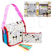 Disney Tsum Tsum Girls Colour Your Own stationery Carry Handbag Include All Accessories