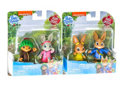 Peter Rabbit Toys Figurines Figures Collectables Benjamin Bunny Lily Bobtail Peter Rabbit and Cotton Tail Rabbit - 4 Toys - 7-8 cm Posable Figurine Play Set - Best Christmas Present