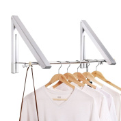 Aluminium Folding Wall Hanger Clothes Hanger Rack Space Saving Clothes Storage Organiser for Laundry Bathroom Bedroom Balcony Indoor Outdoor
