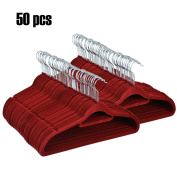 Ceanfly Non Slip Flocked Clothes Hangers Space-Saving Coat Trousers Hangers(50PCS, Wine Red)