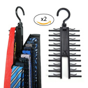 Tie Rack Hangers Homyad - Set of 2 - Organises and allows the storage of 2x20 ties, scarves, belts and other accessories