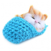 Eshylala 1 PCS Mini Cute Simulation Sleeping Cat Toys With Sound Kittens Cat Toys Doll Plush Toys Birthday Gifts Christmas Decoration,Blue