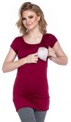 Happy Mama. Women's Maternity Nursing Top T-Shirt Stretch Short Sleeves. 380p