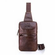 Male Head Layer of Leather Chest Shoulder Messenger Messenger Bag Fashion Chest Height 1.7 , coffee