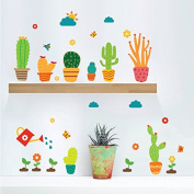 Zooarts Wall Sticker Cartoon Potted Plants Mural Removable Cute Cactus Flower Wall Decals