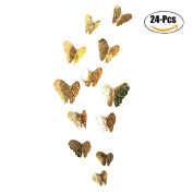 Wall Sticker, Outgeek 24Pcs Wall Decor Hollow-out 3D Butterfly Wall Decal with Adhesive Dot