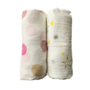 Final Home 2 Pack Bamboo Muslin Swaddle Blanket, Infant Receiving Swaddle Wrap for Shower Gift