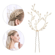 Greencolourful Bridal Hair Accessories Pearl Hairpin Handmade White Headdress for Wedding Dress Decor