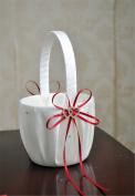 LanLan Heart Pure White Romantic Wedding Elegant Satin Shining Rhinestone Embedded Adorable Basket