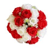 Artificial Rose Flower,TianranRT 18Head Artificial Silk Roses Flowers Bridal Bouquet Rose Home Wedding Decor