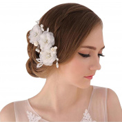 DDUUMY Bride 's Day Hair Flower Flower Mosaic Women' s Handmade Hair Ornament Wedding Dress Accessories , white