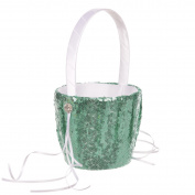 Remedios 4 Colours Fashion Sequin Wedding Flower Girl Basket Flower Basket, Green
