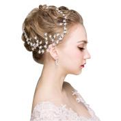 DUUMY New Bride Handmade Headdress Diamond Star Hair Ornaments Accessories Wedding Dress Wild Jewellery White, Red