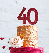 Number 40 Cake Topper Large - 40th Birthday Cake Topper - Dark Pink