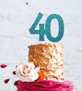 Number 40 Cake Topper Large - 40th Birthday Cake Topper - Glitter Light Blue
