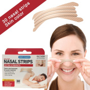 30 skin colour nasal strips | Opens nasal passages | against snoring | Holds longer, more comfortable, easier to remove and one size fits all | Great market trade in the USA | Now available in Europe!
