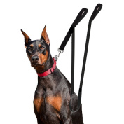 Houseables Extra Long Dog Leash, Double Handle, Dual Padded Grip, 2.4m Length, Black, Heavy Duty, Large/Medium Dogs, 2 Handles, Greater Control Safety Training, Protect Dog in Traffic