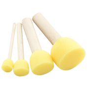 4pcs/lot Yellow Sponge Paint Brush Seal Sponge Brush Wooden Handle Children's Painting Tool Kids Diy Doodle Drawing Toys