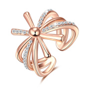 Crystal Cross Wedding Engagement Open Ring Adjustable Birthday Christmas Gift 18ct Gold Plated