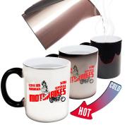 Funny Mugs - 123t Love One Women And Several Motorbikes - Joke Humour Gift Birthday Present COLOUR CHANGING NOVELTY MUG -Christmas Secret Santa