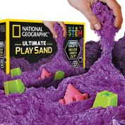 National Geographic Play Sand - 2.7kg of Sand with Castle Moulds (Purple) - A Kinetic Sensory Activity