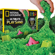 National Geographic Play Sand - 2.7kg of Sand with Castle Moulds (Green) - A Kinetic Sensory Activity