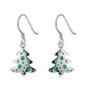 Bishilin Christmas Women's Earrings Christmas Tree/Gift Box/Bell/Leaves Dangle Earrings Silver Christmas Gifts