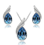 Celebrity Jewellery Water Drop Shaped Glass Crystal Earrings and Necklace Set for Her for Women Gift