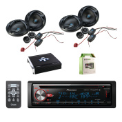 Pioneer CD Bluetooth Receiver with Enhanced Audio Functions with Autotek 17cm ATS series factory speakers 2-pairs, 4 Channel Amplifier & Enrock Audio 8 Gauge Amplifier Wiring Installation Kit
