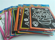 10pcs/lot 13*9.5cm Two-in-one Magic Color Scratch Art Paper Coloring Cards Scraping Drawing Toys for Children