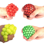 Prochive Anti-Stress Squishy Mesh Ball Squeeze Grape Ball, Stress Anxiety Relief Relieve Pressure Balls Funny Toys, Random Colours, 2PCS