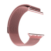 Stainless Steel Milanese Loop Replacement Band for 42MM Apple Watches - Pink