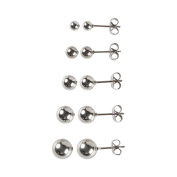 Topeakmart Set of 5 Pairs Stainless Steel Round Ball Stud Earrings - 4, 5, 6, 7, 8mm