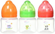 BornCare BCWS-162-3 4oz 125ml Wide Neck Feeding Bottle with Silicone Nipple Fast Flow - 3 Pack