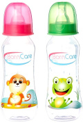 BornCare BCWS-103-3 8oz 250ml Regular Feeding Bottle with Silicone Nipple Fast Flow - 2 Pack