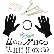 BodyJ4You Body Piercing Kit Belly Rings Black Tongue Tragus Eyebrow Nipple Lip Nose 36 Pieces