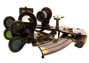 Antiquated Brass 13 cm Nautical Demonstration Navigational Sextant in Leather Presentation Case