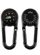 Compass Carabiner + Compass + Thermometer Multifunctional Portable Metal Compass for Hiking/Camping/Travel 3 in 1 Lens Magnification, Professional