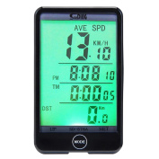 RUNACC Bicycle Wireless Speedometer Bike Odometer Wireless Bicycle Speedometer with LCD Display Screen and 2 CR2032 Batteries Suitable for All Kind of Bicycle, Black