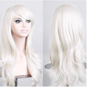 Cosplay Wigs for Women Long Wavy Synthetic Hair 60cm Anime Costume White Wig Party Natural