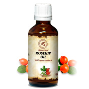Rosehip Oil 100 ml 100 % pure and natural Rosehip Seed Oil - best benefits for Skin, Nails, Lips, Hair, Face, Body, Scalp, uses as Pure Agent, an excellent with Essential Oil, Great for Beauty, Aromatherapy, SPA, Relaxation, Bath, Massage, Wellness, Gl ..
