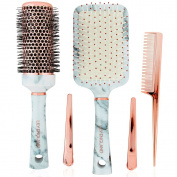 Lily England Hair Brush Set - Marble & Rose Gold