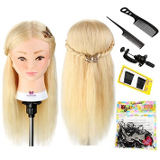 Neverland Beauty 50cm 100% Real Human Hair Training Head Hairdressing Hairdresser Practise Mannequin Manikin Doll with Clamp Stand + DIY Hair Braid Tools