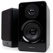 Micca Club 3 Bookshelf Speakers with 8.9cm Carbon Fibre Woofer and Silk Dome Tweeter, Black