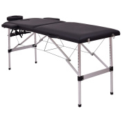 180cm L Portable Massage Table Aluminium Facial SPA Bed Tattoo w/Free Carry Case - Black