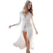 GBT Sexy Elegant Long Cardigan Dress Slim Perspective Full Lace Pyjamas