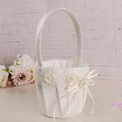 Koedu Wedding Flower Girl Basket With Flowes Pearls Satin Ribbons Bow Rhinestone Wedding Party Decorations Gift Candy Basket