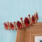 DELLT- Bridal Hair Ornaments Three - Piece Necklace Earrings Crown Headdress Set Red Wedding Accessories Wedding Jewellery