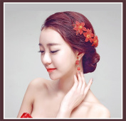 DELLT- Fashion Chinese Bride Headdress Exquisite Petal Wedding Jewellery Wedding Accessories Red Dress Hair Ornaments Hair Band Earrings Suit
